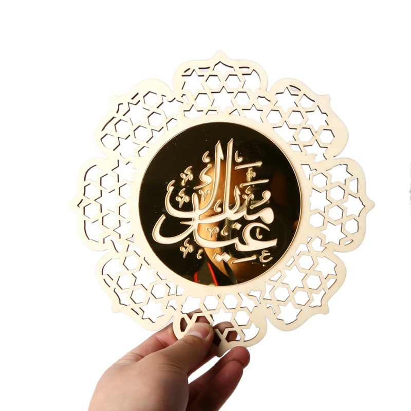 Eid Del Pendente di Legno EID MUBARAK Arredamento per la Casa FAI DA TE Ramadan Decorazione Appesa Pendenti con gemme e perle Islamico Musulmano Partito Decor Forniture 1