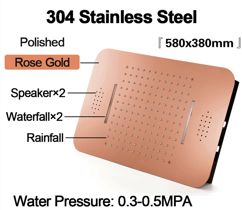 H962204eed9ae495db36988318cb1882dR M Boenn Luxury Rose Gold LED Shower System Music ShowerHead Bathroom Faucets Rain Shower Set Thermostatic Brass Concealed Mixer