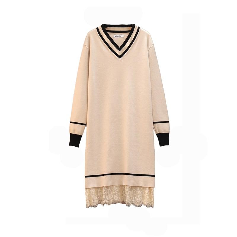 Patchwork Lace Sweater Dresses Women's Long Sleeve V Neck Mini Straight Ladies High Street Autumn Knitting Dresses Plus Size 4