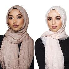 Etniczne Oversize muzułmańskie Crinkle hidżab szalik na głowę kobiety stałe Bubble bawełna szale i okłady miękkie duże pościel chustki na szyję Femme 180*70CM