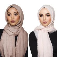 Étnico oversize muçulmano crinkle hijab cabeça cachecol feminino sólido bolha algodão xales e envoltórios macio grande linho foulard femme 180*70 cm