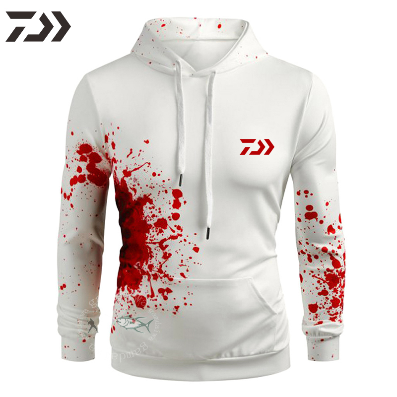 Daiwa Fishing Sweatshirt Men Clothing Fishing Hoodies For Men Pocket Breathable Fishing Shirts Long Sleeve Hiking Shirt Outdoor