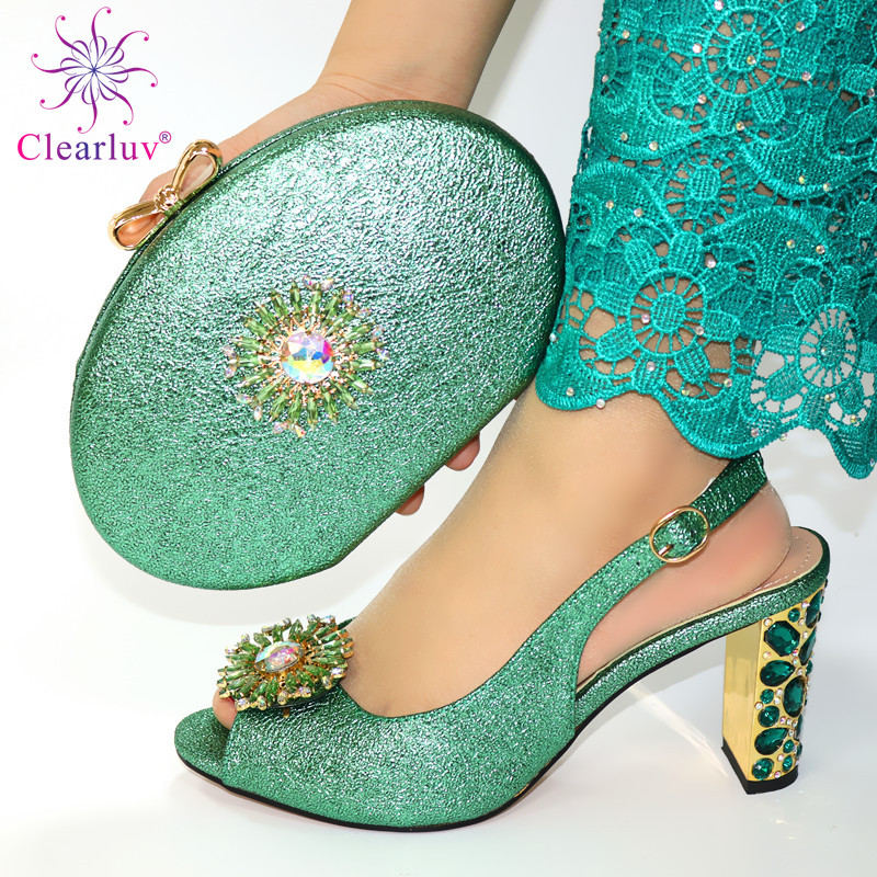 Green Color Ladies Italian Shoes And Bag Set Decorated With Rhinestone Nigerian Shoes And Matching Bags African Wedding Shoe Bag