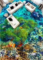 3d flooring waterproof adhesive vinyl Tropical Fish papel de parede 3 d For any room floor