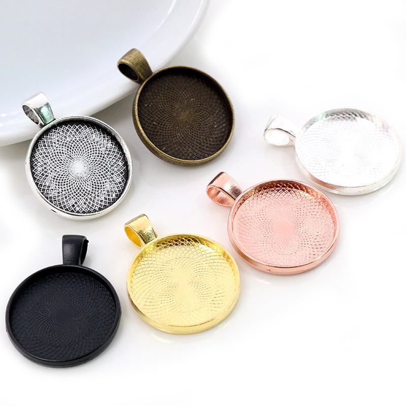 10pcs 20mm Inner Size 6 Classic Colors Plated Classic Style Cabochon Base Setting Charms Pendant