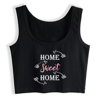 Crop Top Female Hygge Hogar Dulce Hogar Fondo Oscuro Fit White Sleeveless Tops Women image