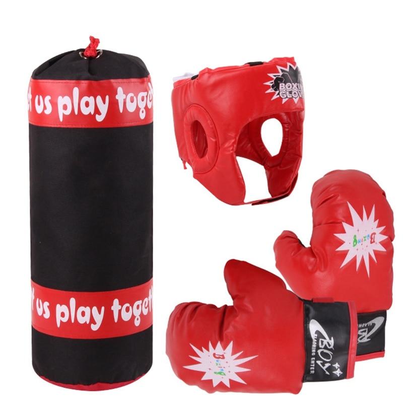 Luvas de Boxe Bolsa de Boxe Crianças Alvo Capacete Conjunto Sanda Defletor Miúdo Fitness Menino Exercício Sparring Corpo Brinquedo Mão