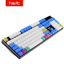 Havit PBT Tastenkappen 87 104 Tasten Gaming Keycap Set für DIY Kirsche MX Mechanische Tastatur Weiß & Blau & Gelb(China)