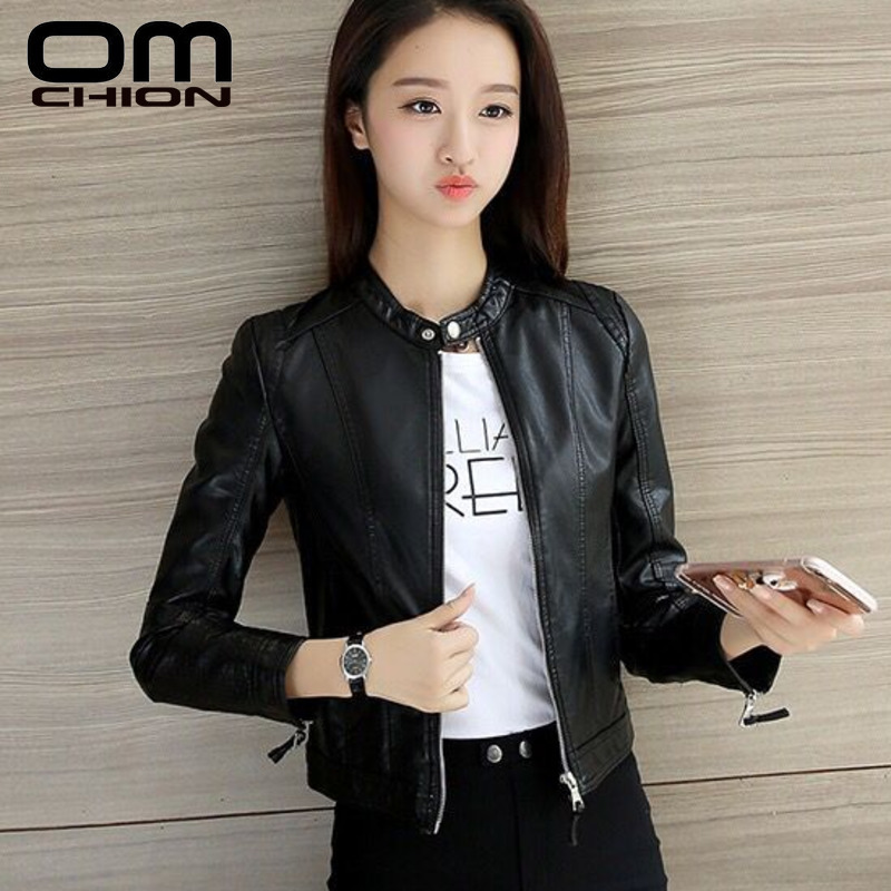 OMCHION 2019 New Women's Leather Jacket Pimkie Cleaning Single PU Leather Jacket Motorcycle Temale Women Slim Coat S-XXXL LMJ20(China)