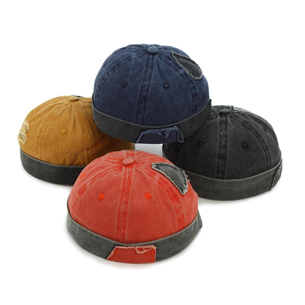Vintage Hip Hop Men Hat Washed Cotton Retro Skullcap Adjustable Brimless Hat Landlord Breathable Beanie Hat Sailor Cap 2019 New