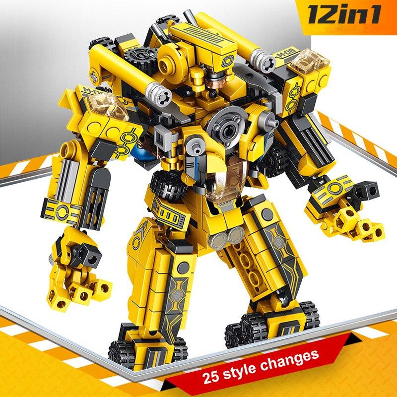 576 шт 12в1 Techinc Трансформация Робот строительные кирпичи креативная сборка Обучающие фигурки блоки Подарочные игрушки для детей Блочные конструкторы      АлиЭкспресс