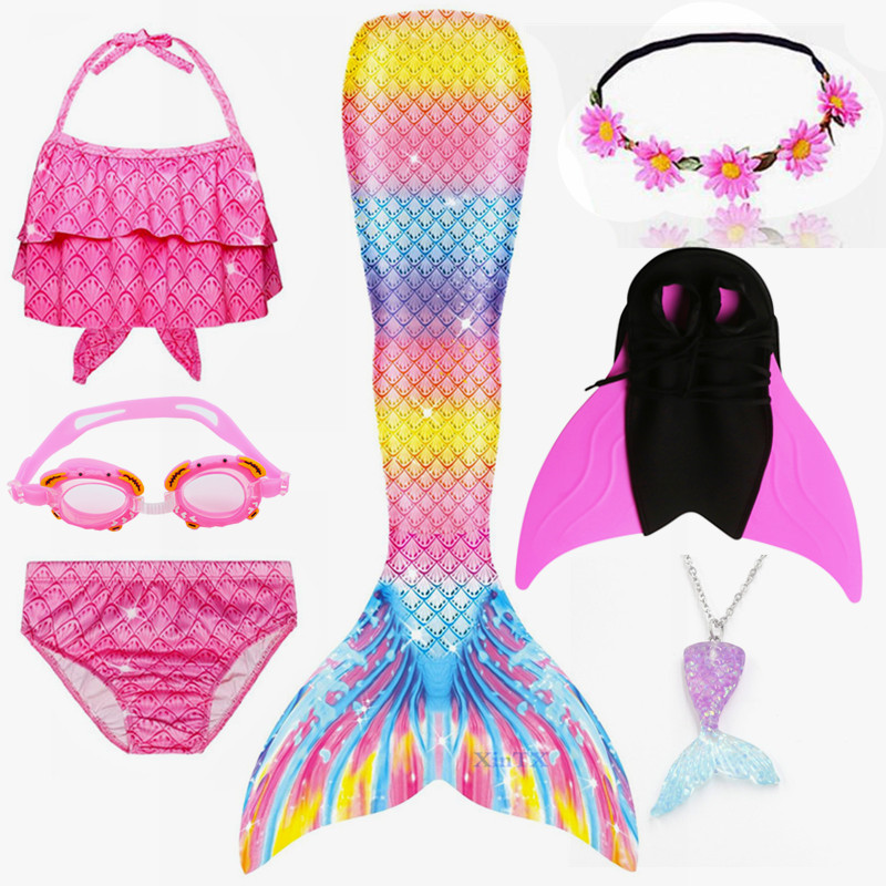NEW Arrival!Little Mermaid Tails With Monofin Garland Goggles Swimming Bathing Suit With Flipper Mermaid Costume Swimwear Dress