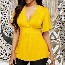 Plus Size 6XL Tunic Women's Short Sleeve T-Shirts Halter V-neck High Waist Female T-Shirt 2020 Summer Solid Casual Lady Tunics