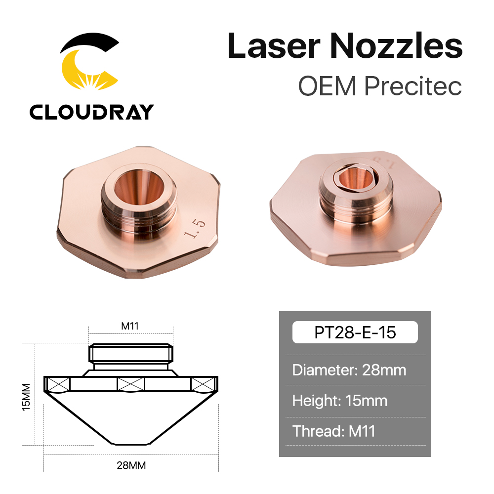 Cloudray Precitec Bodor Dia.28mm Laser Nozzles Single & Double Layers Caliber 0.8 - 4.0mm For Empower Fiber Laser Cutting Head