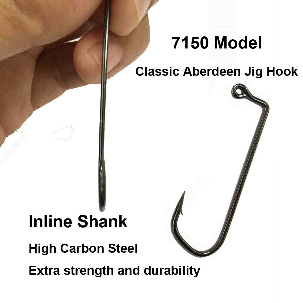 Lots 50pcs Jig Big Fishing Hooks High Carbon Steel Saltwater Barbed 1#-10//0#