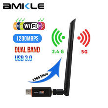 Adapter Wifi bezprzewodowy sterownik USB 1200 mb/s 600 mb/s Lan USB Ethernet 2.4G 5G dwuzakresowy karta sieciowa Wi-fi 802.11n/g/a/ac