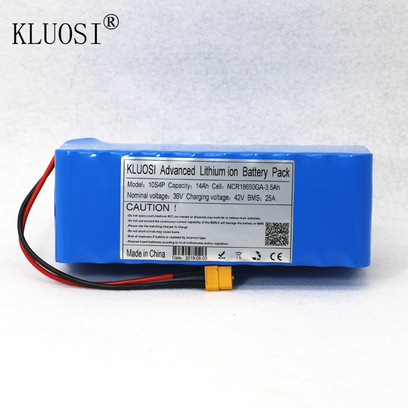 KLUOSI 36V Battery 10S4P 14Ah for NCR18650GA with 25A Balanced BMS 42V Li-Ion Battery Pack Ebike Electric  Bicycle Motor Scooter