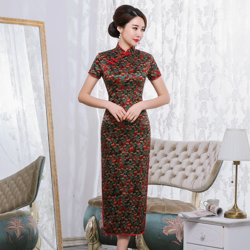 2019 Time-limited Quinceanera Spring And Summer New Retro Elegant Long Cheongsam Chinese Style Short Sleeve Tang National Silk