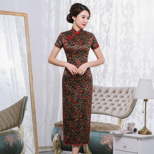 Image 1 - 2019 Time limited Quinceanera Spring And Summer New Retro Elegant Long Cheongsam Chinese Style Short Sleeve Tang National Silk