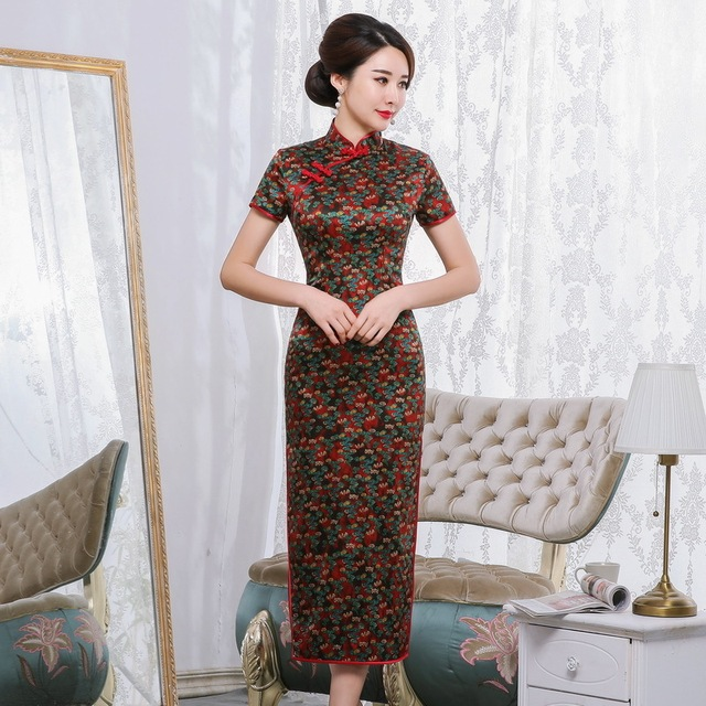 2019 Time limited Quinceanera Spring And Summer New Retro Elegant Long Cheongsam Chinese Style Short Sleeve Tang National Silk