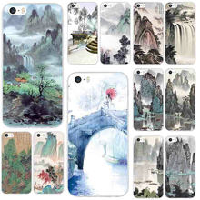 Soft TPU Silicone Mobile Phone Case for iPhone X XR XS Max 8 7 6 6S Plus 5 5S SE 5C 4 4S Bags Chinese Landscape Painting(China)