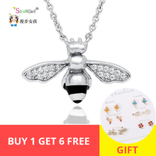 Lovely Bee Animal Necklaces & Pendants Charm Necklace 925 Sterling Silver for Women Jewelry Accessories Selling Cute Chain