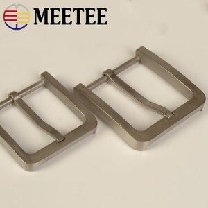 Image 2 - Meetee Solid Pure Titanium Pin Gespen Onschadelijk Voor De Huid Voor Mannen Jeans Kleding Accessoires Lederen Craft Breedte 37/39Mm