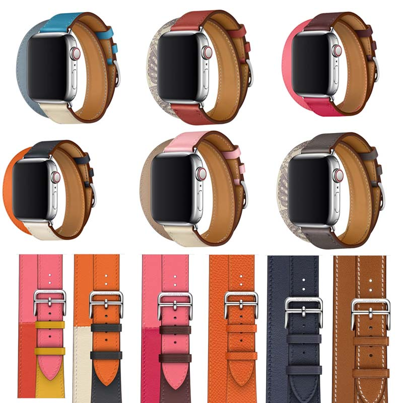 Series 5/4/3/2/1 Long Genuine Leather Double Tour Bracelet Leather Strap For Apple Watch Band 38mm 42mm 40 44mm,For Iwatch