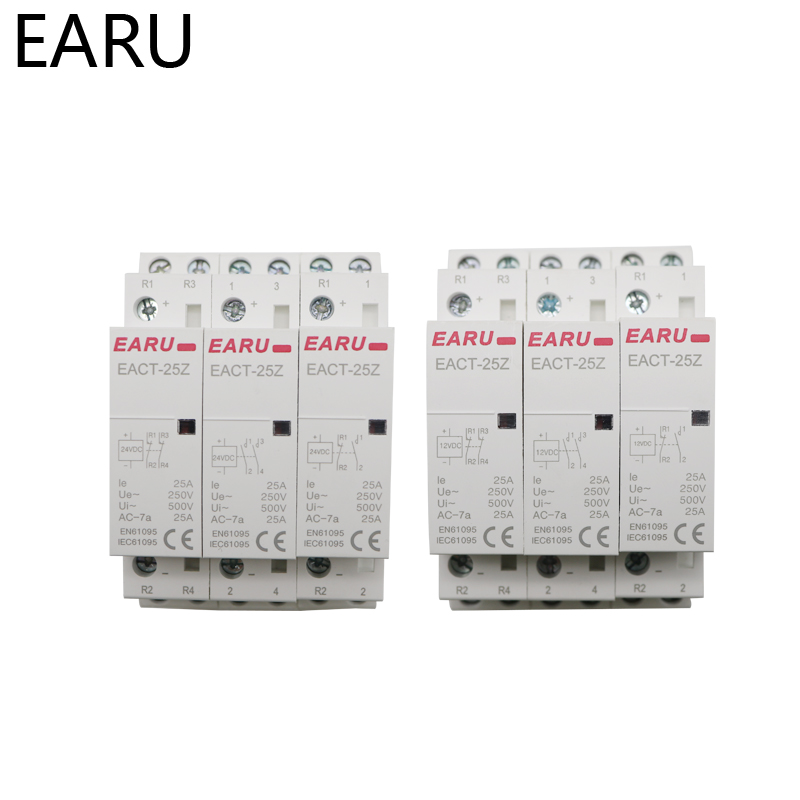 H96235f2e57e74322a642b66e701472f7x - EACT-25Z DC 12V 24V 2P 16A 25A 1NO 1NC 2NO 2NC Contact Din Rail Household DC Modular Contactor Switch for Smart Home House Hotel
