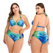 Strój kąpielowy Bikini Plus Size kobiety nadruk w kropki zestawy Bikini stroje kąpielowe dwuczęściowe stroje kąpielowe stroje kąpielowe stroje kąpielowe kostiumy kąpielowe strój kąpielowy dla kobiet tanie tanio WATER PRINCESS Poliester WOMEN Pływać Swimsuit Pasuje prawda na wymiar weź swój normalny rozmiar Drukuj Dwa Kawałki