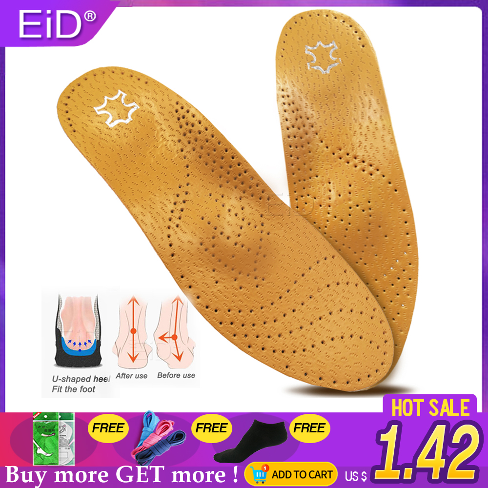 EiD Leather Orthotic Insole For Flat Feet Arch Support Orthopedic Shoes Sole Insoles For Feet Men And Women And Children OX Leg