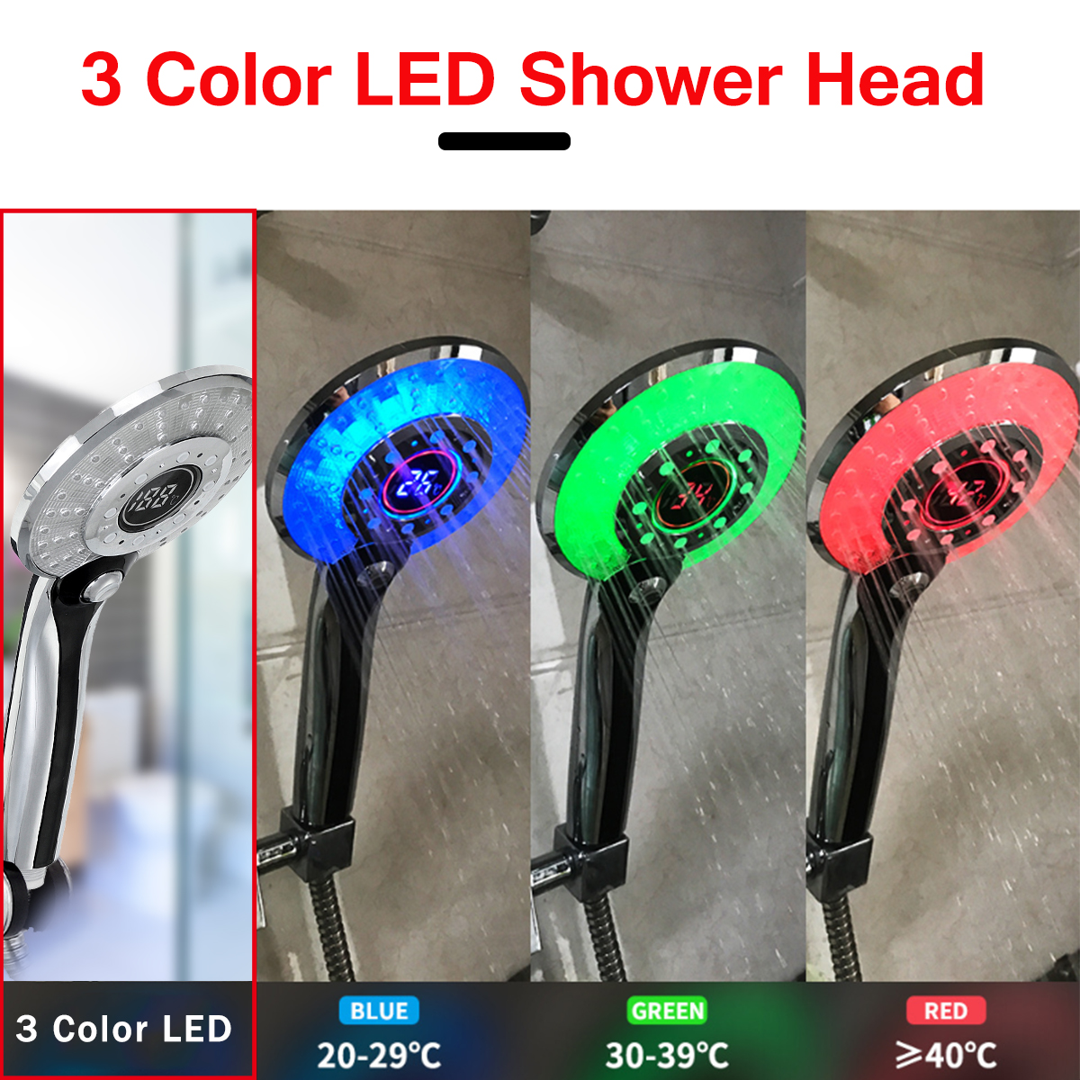3 Spraying Mode Digital Display Handheld Shower Head with 3-color Temperature Control LED Light Water-Saving
