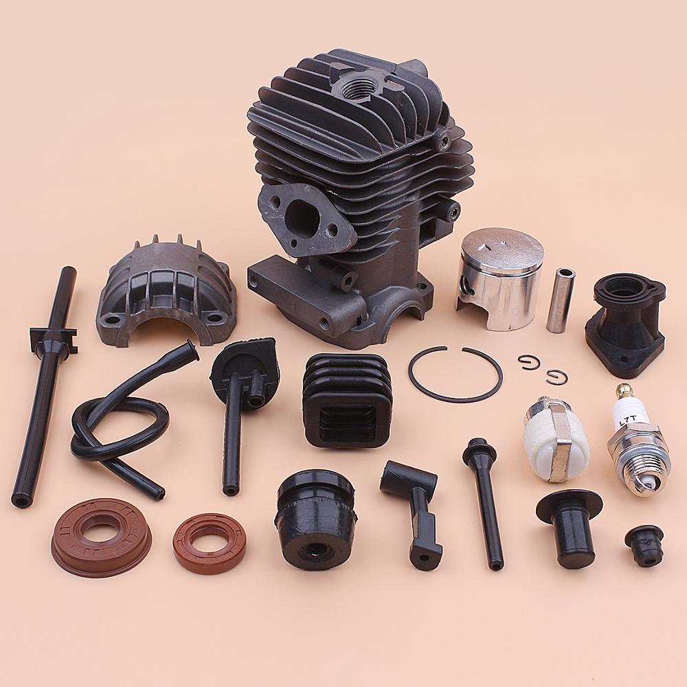 34mm Cylinder Piston Kit For Chinese 2500 25cc Fuel Oil Filter Hose Pipe Buffer Cap Seal Small Chainsaw