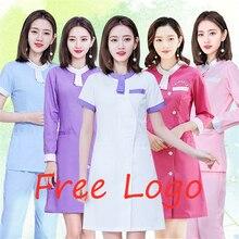Бесплатный Логотип Форма медсестры, медицинская спа Больничная одежда корейский стиль скраб лабораторное пальто тонкий красота Salo стоматолога Рабочая Униформа комбинезоны