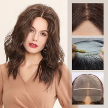 Synthetic-Wigs EMMOR with Natural-Hairline Water-Wave U-Part Lace for White Women Dark-Brown