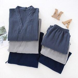 Image 2 - Men and Women 100% Cotton Pajamas Plus Size Loose Bathrobes V Neck Kimono Pijama Mujer Three Quarter Sleepwear Couple Sleepwear