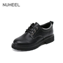 NUHEEL Women's Shoes British Style Small Leather Shoes Korean wild Black Retro Spring New Platform Shoes Women туфли женские
