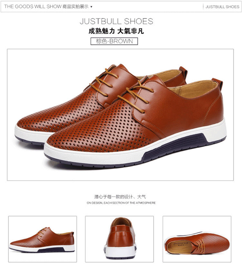H9623eec62b504175a33df3cf2c159134A New 2019 Men Casual Shoes Leather Summer Breathable Holes Luxurious Brand Flat Shoes for Men Drop Shipping