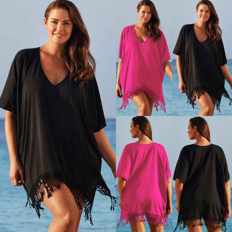 Elegante túnica playa wrap Falda Mujer de talla grande damas Bikini borla traje de baño cubrir vestido de playa vestido playa larg