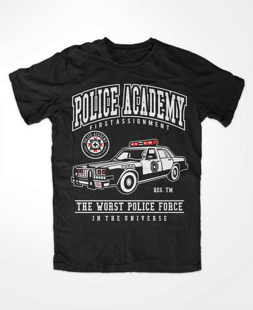 Police Academy Premium Tshirt 80`s Lassard Retro Cop Comedy Movie Hightower TEE Shirt New Unisex Funny image
