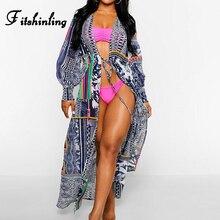 цена на Fitshinling Holiday Chiffon Beach Cover-Up Swimwear Print Lantern Sleeve Bikini Outing 2020 Sexy Slim Kimono Boho Long Cardigan