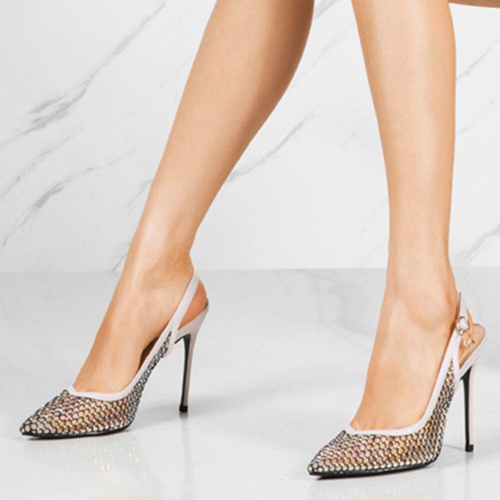 Sarairis On Sale Fetish Pointed Toe High Heels Big Size 45 women's Shoes Summer Air Mesh Slingback Sandals Woman