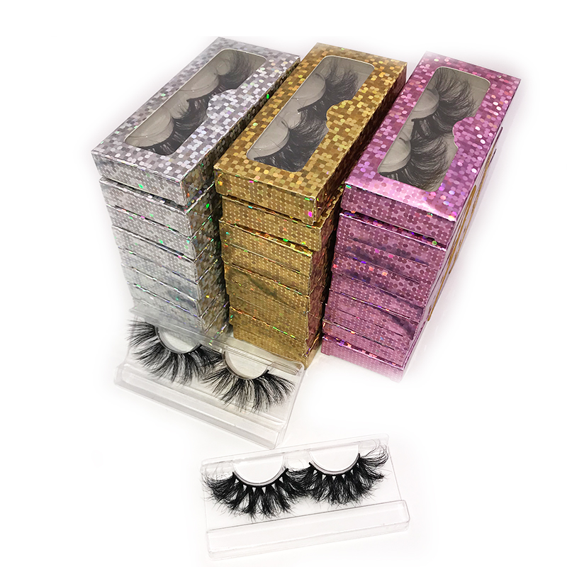rainsin10/20/30/40/<font><b>50</b></font>/<font><b>80</b></font> pairs wholesale 25 mm fluffy handmade makeup lashes set with packaging paper <font><b>box</b></font> 3D 28 mm long shipping image