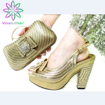 Italian Design High Heel Shoes With Matching Bag Set For Wedding Party New Arrival Fashion Women Pumps Shoes and Bags