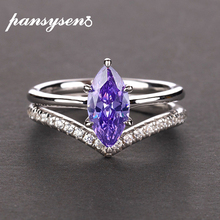 PANSYSEN 100% Authentic 925 Sterling Silver Mariquesa Shape Natural Amethyst Rings for Women Wedding Anniversary Gemstone Ring