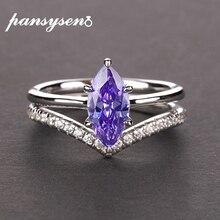 PANSYSEN 100% authentique 925 en argent Sterling Mariquesa forme améthyste anneaux pour les femmes anniversaire de mariage anneau de pierres précieuses