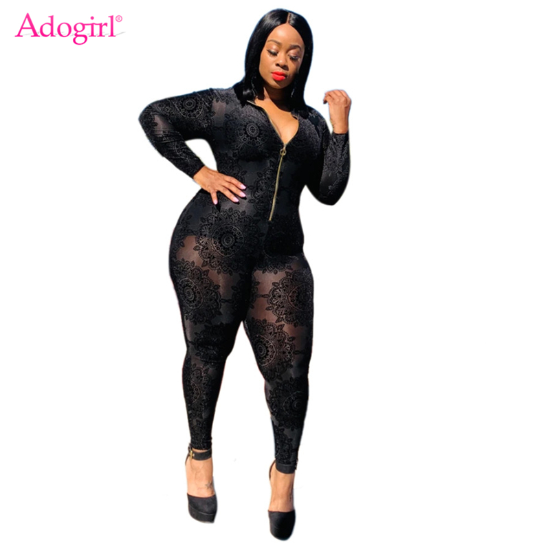Adogirl Floral Flocking Sheer Mesh Plus Size Women Jumpsuit XL-5XL Front Zipper V Neck Long Sleeve Sexy Slim Romper Overalls