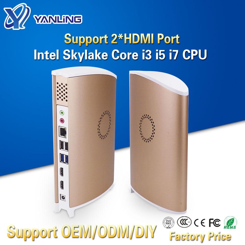 Yanling Cheap Mini PC Intel Core I3 6100 I5 6500 I7 6700 DDR4 Ram Single Lan 4K HD HTPC Barebone Desktop Computer With 2 HDMI