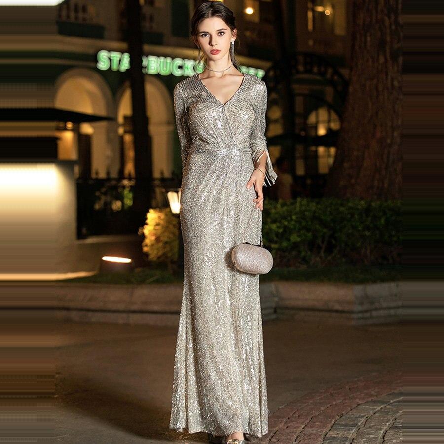 Sequins Formal Gown Silver V-Neck Robe De Soiree K019 Long Plus Size Women Party Dresses 2019 Elegant Long Sleeves Evening Dress