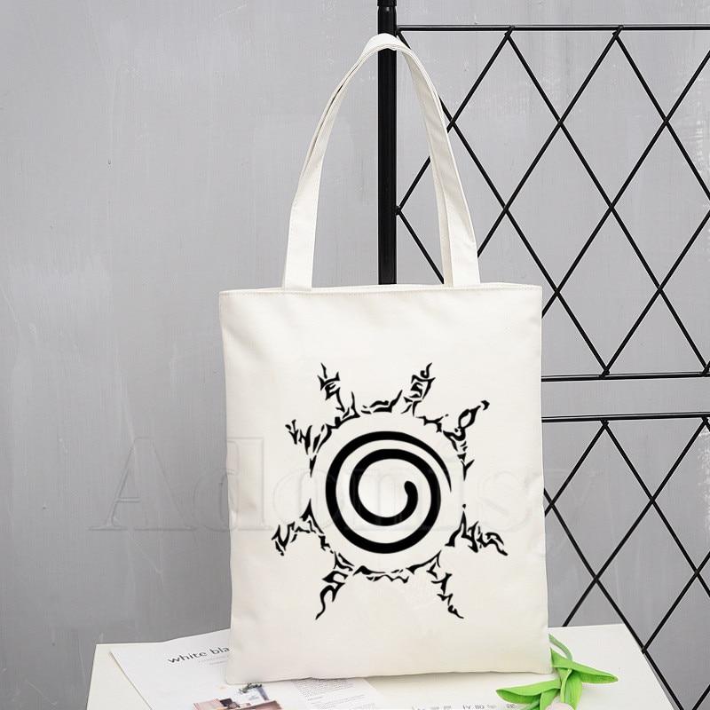 Uzumaki Naruto Uchiha Itachi Akatsuki Anime Tote Bag Unisex Canvas Bags Shopping Bags Printed Casual Shoulder Bag Foldable